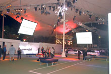 Fashion event staged on double tennis courts
